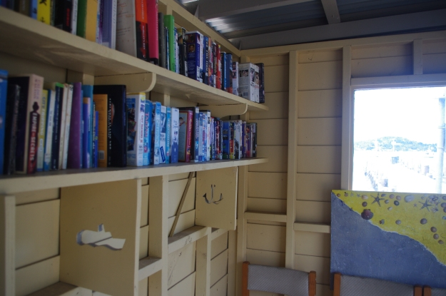 Free community library on the wharf.